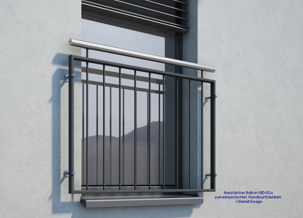 Franzosischer Balkon Md 02ap Pulverbeschichtet Anthrazit Ral7016