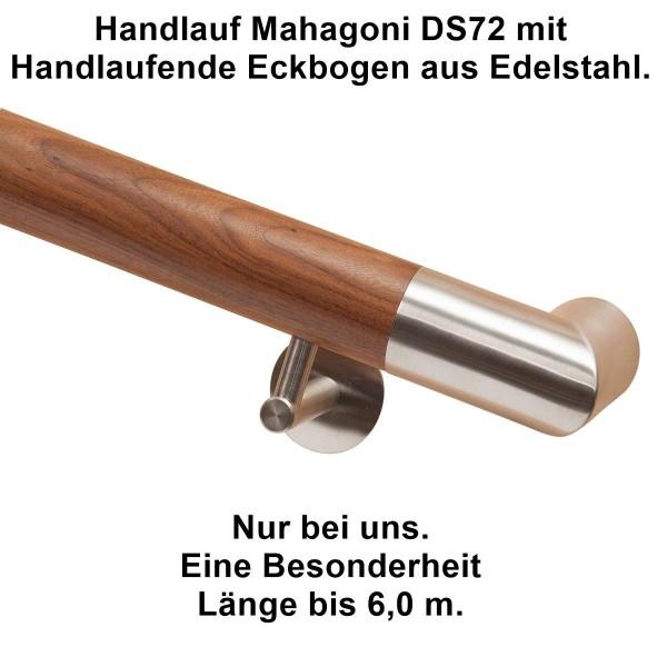 Handlauf Mahagoni DS 72 mit Handlaufende Edelstahl Eckbogen.