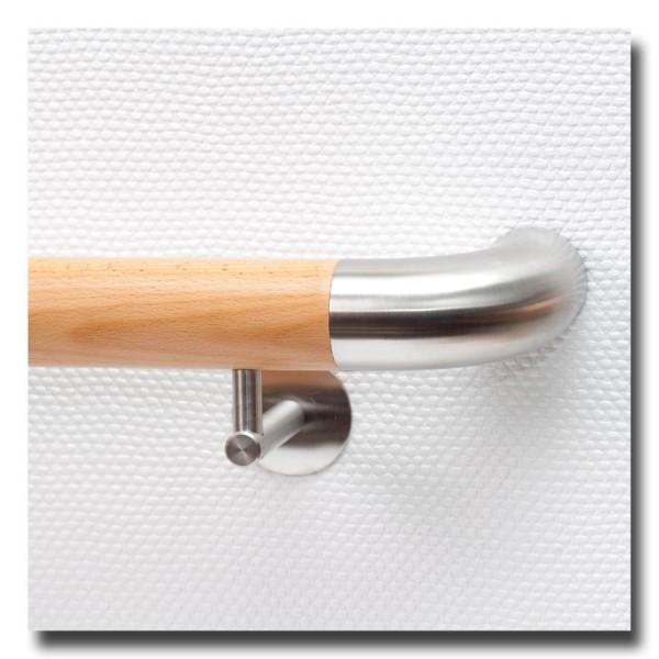 Handlauf Buche DS23 mit beidseitigen Edelstahlbögen rund