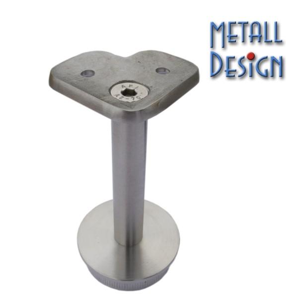 Rohrstütze Edelstahlrohr rund mit Montageplatte eckig 90° für Handlauf Edelstahl