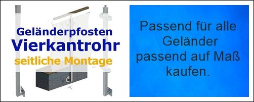 Gelanderpfosten Vierkantrohr Edelstahl Seitliche Montage Design