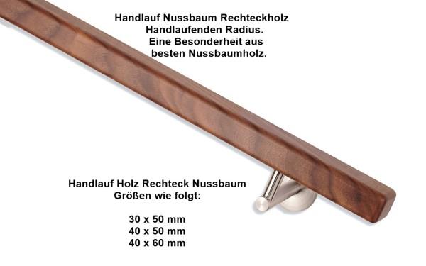 Handlauf Nussbaum Rechteckholz, alle Größen.