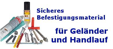 Geländer Befestigungsmaterial und Werkzeug
