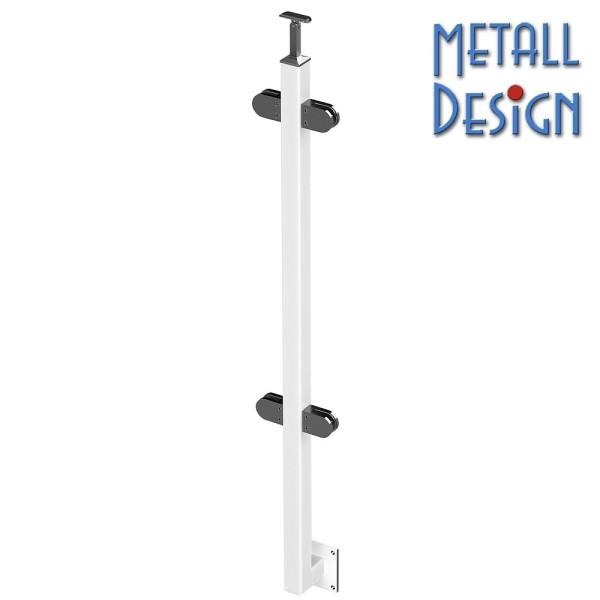 Geländerpfosten Vierkantrohr seitliche Montage pulverbeschichtet weiß Glasgeländer.