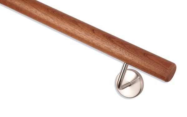 Handlauf Mahagoni und Handlaufhalter Edelstahl matt geschliffen