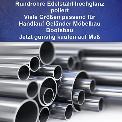L/änge 200mm 20cm auf Zuschnitt Edelstahl Rundrohr V2A /Ø 57x2mm K240