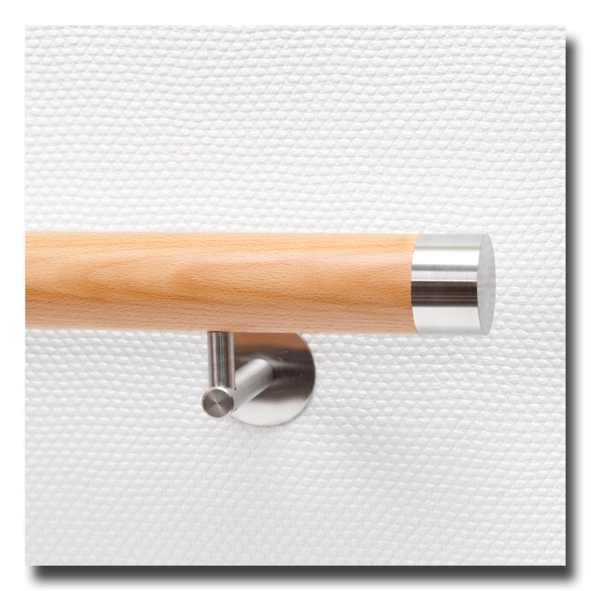 handlauf buche mit handlaufenden edelstahl flach l nge auf ma deutschland. Black Bedroom Furniture Sets. Home Design Ideas