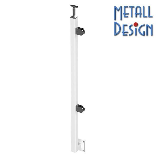 Geländerpfosten Edelstahl Vierkantrohr Glasgeländer seitliche Montage weiß, linke Seite.