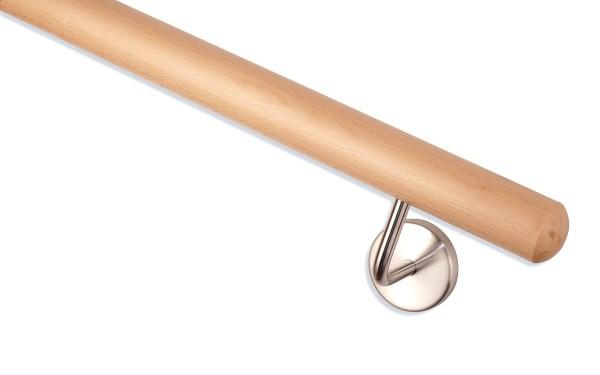 Handlauf Buche Handlaufende Kugelfräsung Handlaufhalter Klickrosette matt.