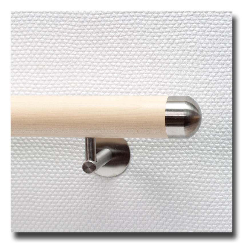 handlauf holz aus ahorn mit handlaufenden edelstahl rund. Black Bedroom Furniture Sets. Home Design Ideas