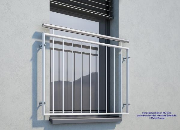 französischer Balkon pulverbeschichtet MD 02aP weiß RAL9016 Handlauf Edelstahl