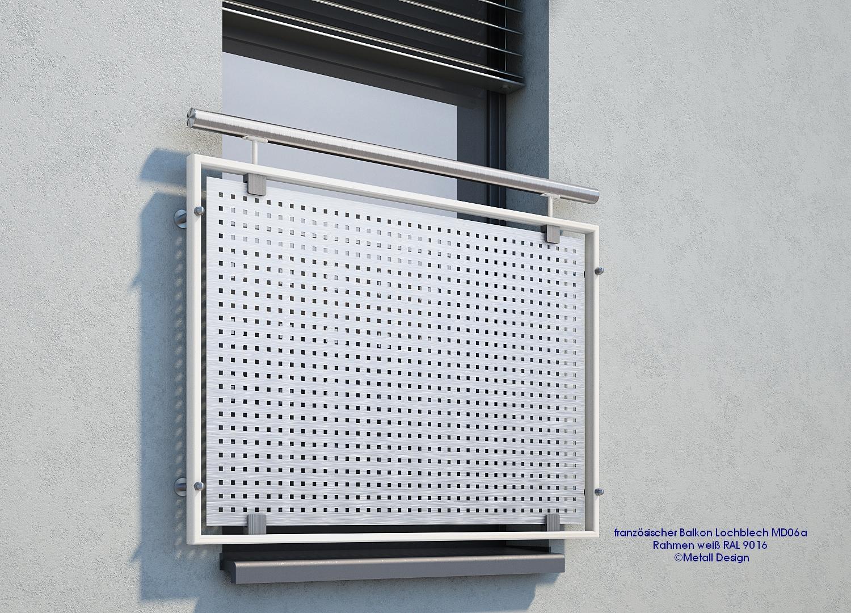 Franzosischer Balkon Lochblech Md06ap Weiss Ral 9016 Deutschland