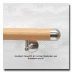 Handlauf Holz DS41 aus Eiche mit Handlaufenden Edelstahl rund