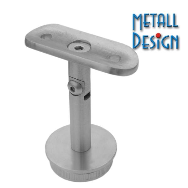 Rohrstütze Edelstahlrohr rund mit Montageplatte verstellbar für Handlauf Edelstahl