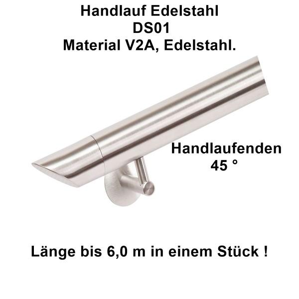 Handlauf-Edelstahl DS09, mit Handlaufenden 45°