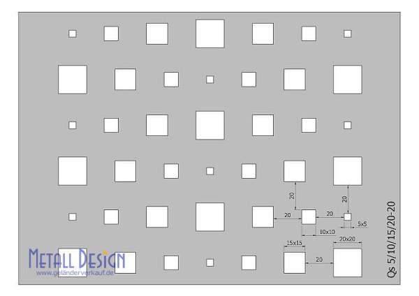 Lochblech Edelstahl Quadratlochung versetzt unterschiedliche Grössen
