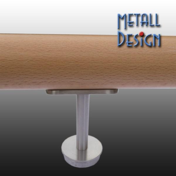 Rohrstütze Edelstahlrohr rund mit Montageplatte für Handlauf Holz