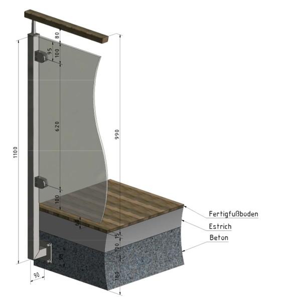 Geländerpfosten Edelstahl Vierkantrohr seitliche Montage Glasgeländer Endpfosten