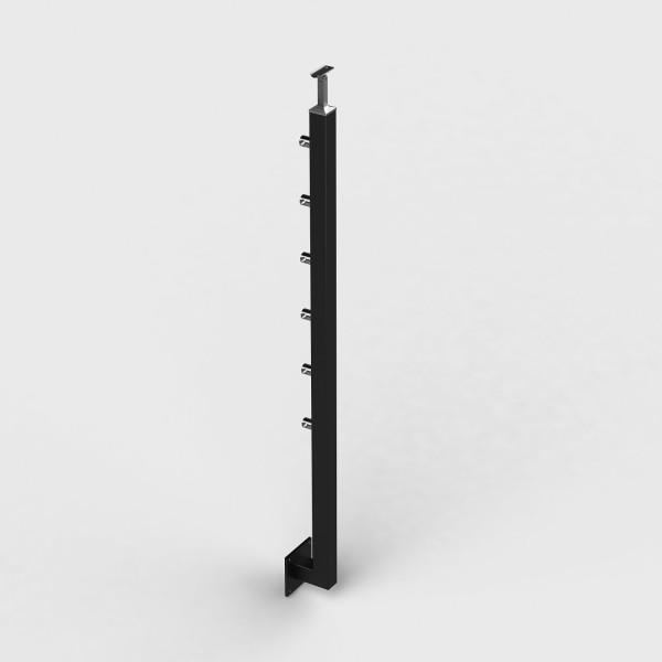 Geländerpfosten Edelstahl pulverbeschichtet, Relinggeländer, seitliche Montage, Vierkantrohr 6 Querstabhalter anthrazit