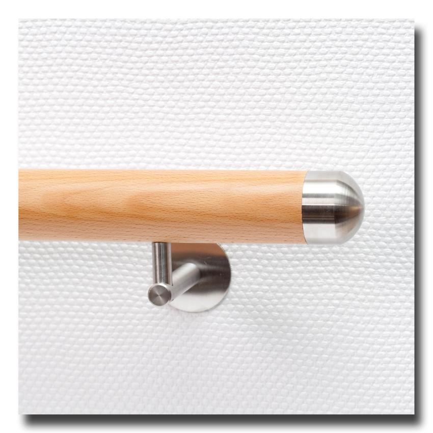 handlauf holz ds21 aus buche mit handlaufenden edelstahl rund ihr handlauf gel nder und. Black Bedroom Furniture Sets. Home Design Ideas