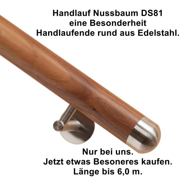 Handlauf Nussbaum DS81 Handlaufenden Edelstahl rund