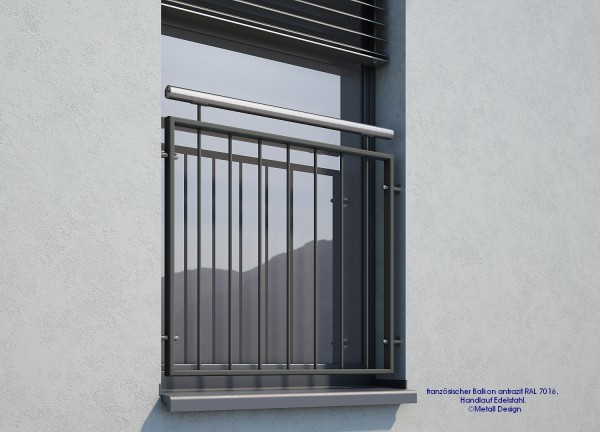 Französischer Balkon, anthrazitgrau, RAL 7016, Handlauf Edelstahl.