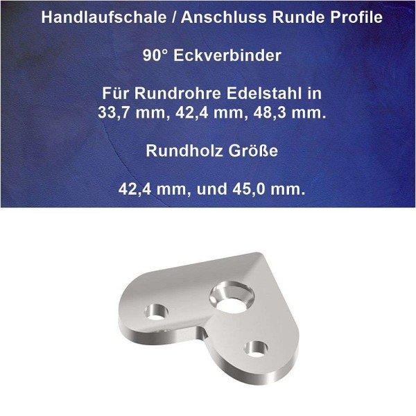 Anschlussplatte Handlauf und Geländer Rundrohr 90° Eckverbinder.