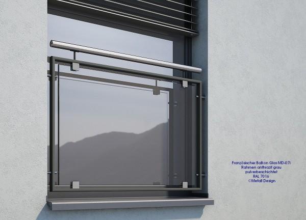 Französischer Balkon pulverbeschichtet grau