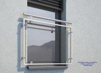 Französischer Balkon Glas MD07aP weiß RAL 9016