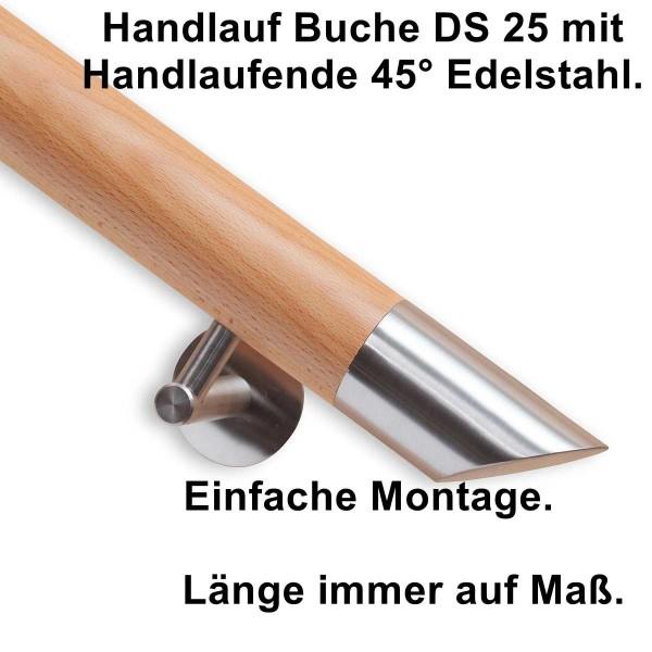 Handlauf Buche DS25 mit Handlaufende Edelstahl schräg.