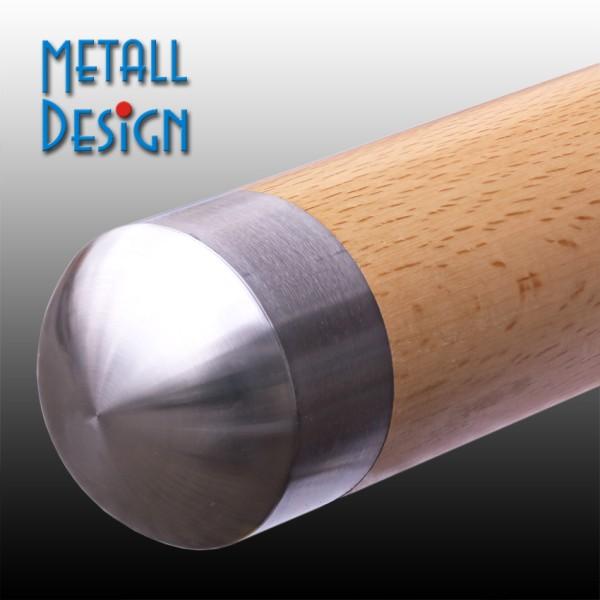 Handlauf-Endkappe Edelstahl für Holzhandlauf gewölbt/rund Anwendungsbeispiel
