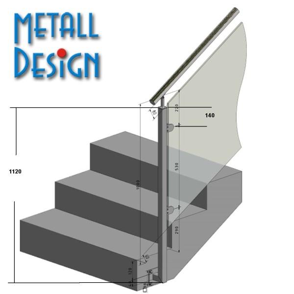 Geländerpfosten Treppengeländer Vierkantrohr seitliche montage Glasgeländer VGST-01