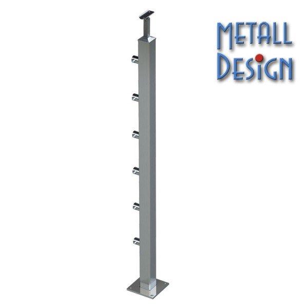 Geländerpfosten Edelstahl Vierkantrohr, Relinggeländer 6 Querstabhalter, aufgesetzte Montage