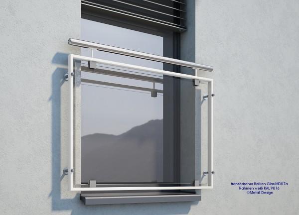 Französischer Balkon Glas, weiß pulverbeschichtet.