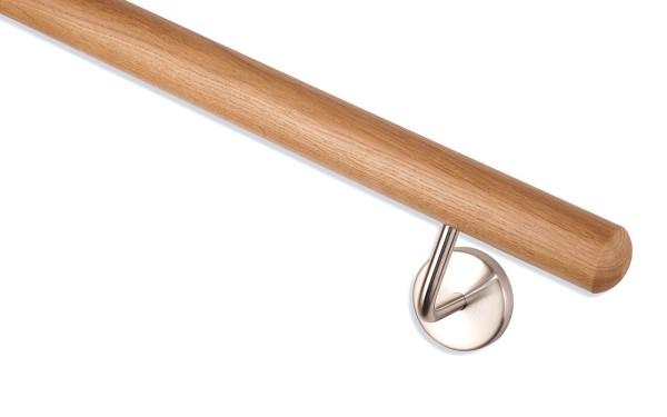 Handlauf Eiche mit Handlaufende Kugelfräsung, Handlaufhalter matt geschliffen.
