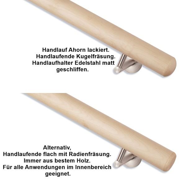 Handlauf Ahorn rund Handlaufhalter Edelstahl fein geschliffen 03.