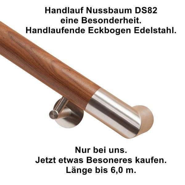 Handlauf Nussbaum DS82 mit beidseitigen Handlaufeckbogen