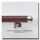 Handlauf Holz aus Thermoesche DS51 mit Handlaufenden Edelstahl rund