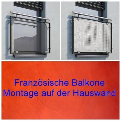 Französischer Balkon, Montage auf der Wand.
