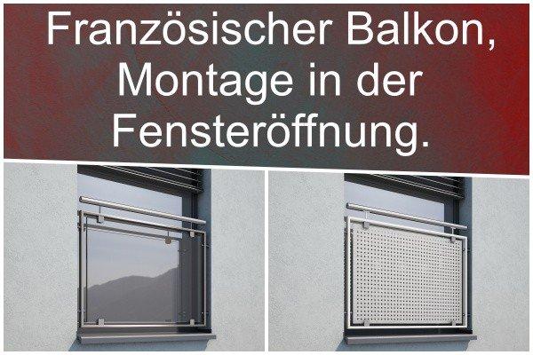 Französischer Balkon in der Fensteröffnung.