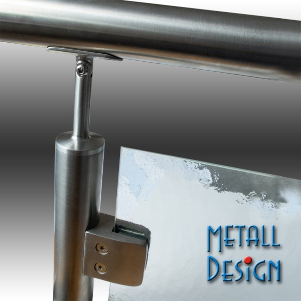Glashalter Edelstahl 55 x 55 mm, B05 runder Anschluss