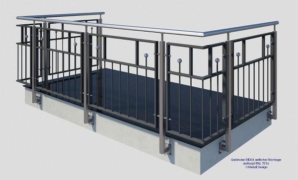 Geländer MD04S, seitliche Montage | Metall Design