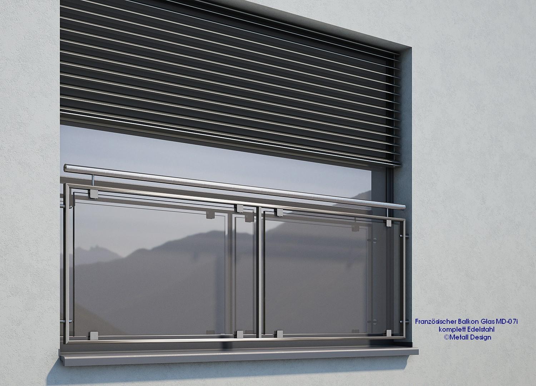 Französischer Balkon Glas Edelstahl Md 07i