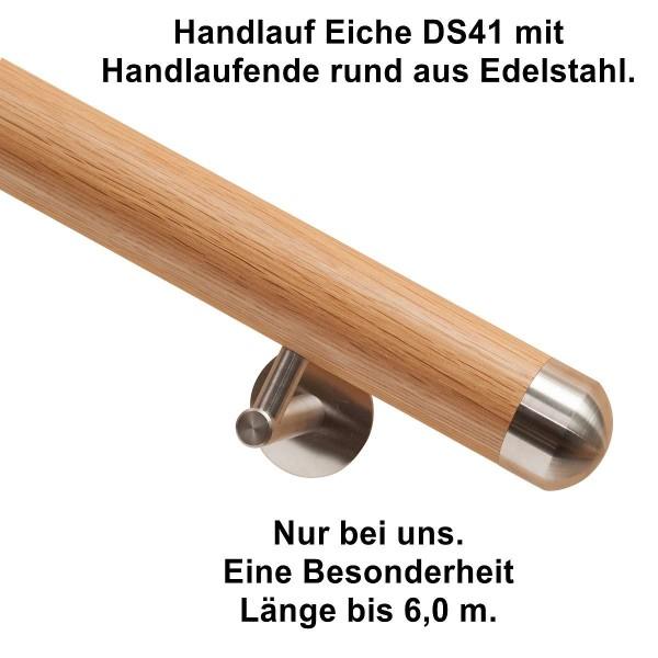 Handlauf Eiche DS41 mit Handlaufende rund, Länge auf Maß.
