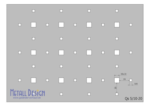 Lochblech Edelstahl Quadratlochung klein versetzt