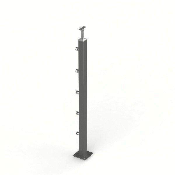 Gelaenderpfosten DB703 Vierkantrohr pulverbeschichtet Laenge auf Maß mit 5 Querstabhalter.
