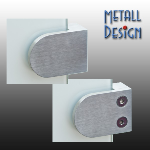 Glashalter / Plattenhalter 63 x 45 mm, Edelstahl, flacher Anschluss.