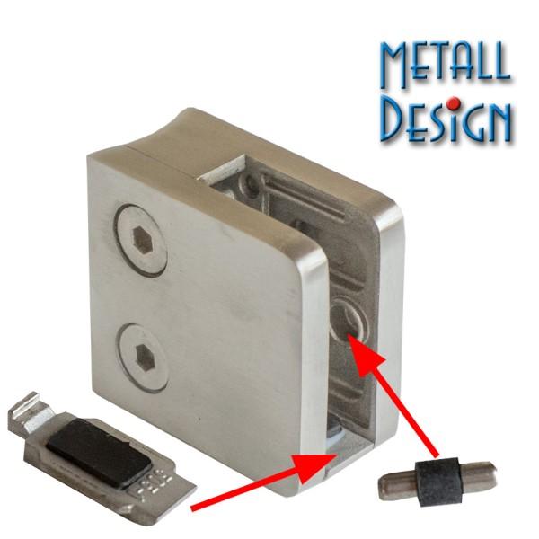 Glashalter Edelstahl 45 x 45 mm, B21 für Rohre 42,4-48,3 mm.