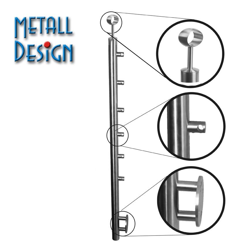 gel nderpfosten mit 6 querstabhalter edelstahl f r reelinggel nder deutschland. Black Bedroom Furniture Sets. Home Design Ideas