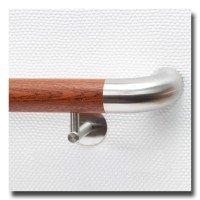 Handlauf Holz Mahagoni mit Handlaufendbogen Edelstahl